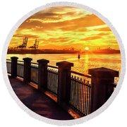 Sunrise At The Harbor Round Beach Towel