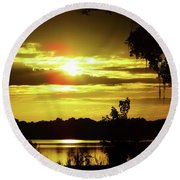 Sunrise At The Lake Round Beach Towel