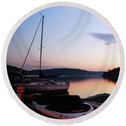 Round Beach Towel featuring the photograph Sunrise At The Lake by James Kirkikis