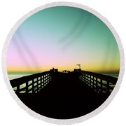 Sunrise At The Myrtle Beach State Park Pier In South Carolina Us Round Beach Towel by Vizual Studio