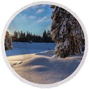 sunrise at the Oderteich, Harz Round Beach Towel