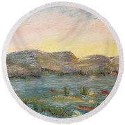 Sunrise At The Pond Round Beach Towel