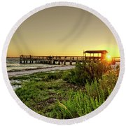 Round Beach Towel featuring the photograph Sunrise At The Sanibel Island Pier by Chrystal Mimbs