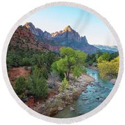 Sunrise At The Watchman - Zion National Park - Utah Round Beach Towel