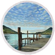 Sunrise At The Water Round Beach Towel