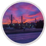 Sunrise At Waupaca Foundry Plants 2 And 3 3-24-2018 Round Beach Towel