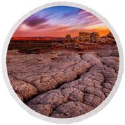 Sunrise At White Pockets Round Beach Towel