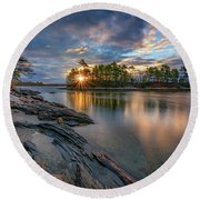 Round Beach Towel featuring the photograph Sunrise At Wolfe's Neck Woods by Rick Berk