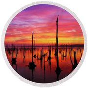Sunrise Awaits Round Beach Towel by Roger Becker