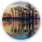 Round Beach Towel featuring the photograph Sunrise, Bald Cypress Of Nc  by Cindy Lark Hartman