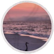 Sunrise Beach And Bird Round Beach Towel by John McGraw