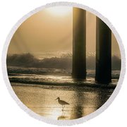 Round Beach Towel featuring the photograph Sunrise Bird At Beach  by John McGraw