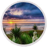 Sunrise Blooms Round Beach Towel