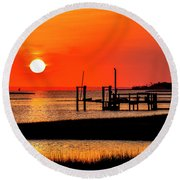 Sunrise - Bogue Sound Round Beach Towel