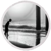 Round Beach Towel featuring the photograph Sunrise Boy In Foggy Beach by John McGraw