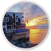 Sunrise By The Barnacle Marblehead Ma Round Beach Towel