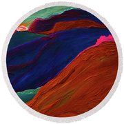 Round Beach Towel featuring the painting Sunrise Castle 2  by First Star Art