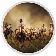 Sunrise Cattle Drive Round Beach Towel