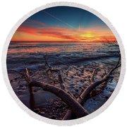 Sunrise Crossing  Round Beach Towel