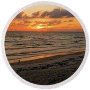 Round Beach Towel featuring the photograph Sunrise Daytona by Paul Mashburn