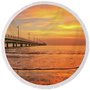 Sunrise Delight On The Beach At Shorncliffe Round Beach Towel