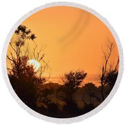 Round Beach Towel featuring the photograph Sunrise Fenceline by John Glass