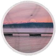 Round Beach Towel featuring the photograph Sunrise Fog by Jan Davies