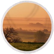 Round Beach Towel featuring the photograph Sunrise Foggy Valley by Jenny Rainbow