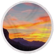 Sunrise From Hieroglyphic Trail Round Beach Towel by Greg Nyquist