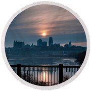 Sunrise From Kaw Point Round Beach Towel
