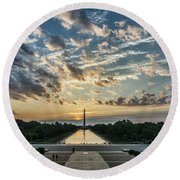 Sunrise From The Steps Of The Lincoln Memorial In Washington, Dc  Round Beach Towel