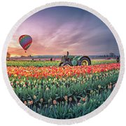 Round Beach Towel featuring the photograph Sunrise, Hot Air Balloon And Moon Over The Tulip Field by William Lee