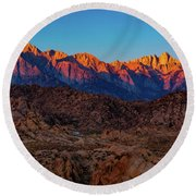 Sunrise Illuminating The Sierra Round Beach Towel