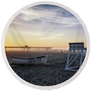 Sunrise In Avalon Round Beach Towel