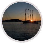 Sunrise In Bar Harbor Round Beach Towel