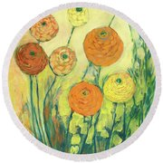 Sunrise In Bloom Round Beach Towel