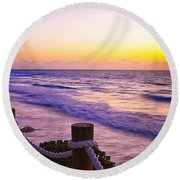 Sunrise In Cancun Round Beach Towel