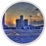 Sunrise In Detroit Mi Round Beach Towel by Nicholas  Grunas