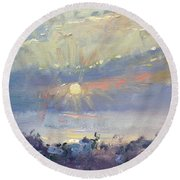 Sunrise In Egey Sea Greece Round Beach Towel
