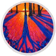 Sunrise In Glory - Long Shadows Of Trees At Dawn Round Beach Towel
