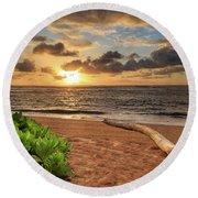 Sunrise In Kapaa Round Beach Towel