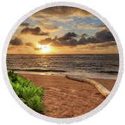 Round Beach Towel featuring the photograph Sunrise In Kapaa by James Eddy