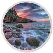 Sunrise In Monument Cove Round Beach Towel by Rick Berk
