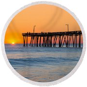 Sunrise In North Carolina Outer Banks Round Beach Towel