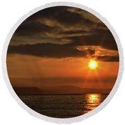 Sunrise In Portland Round Beach Towel by Stephen Melia