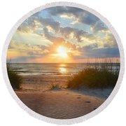 Sunrise In South Nags Head Round Beach Towel