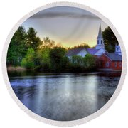 Round Beach Towel featuring the photograph Sunrise In The Country - Harrisville Nh by Joann Vitali