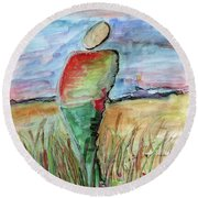 Sunrise In The Grasses Round Beach Towel