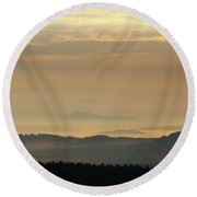 Sunrise In The Mountains - Hills In Morning Mist Round Beach Towel by Michal Boubin