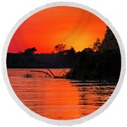 Sunrise In The Pantal Round Beach Towel